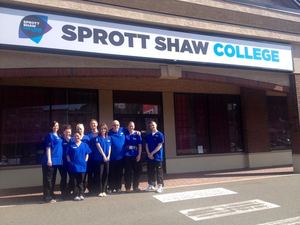 Sprott Shaw College practical nursing students in front of campus