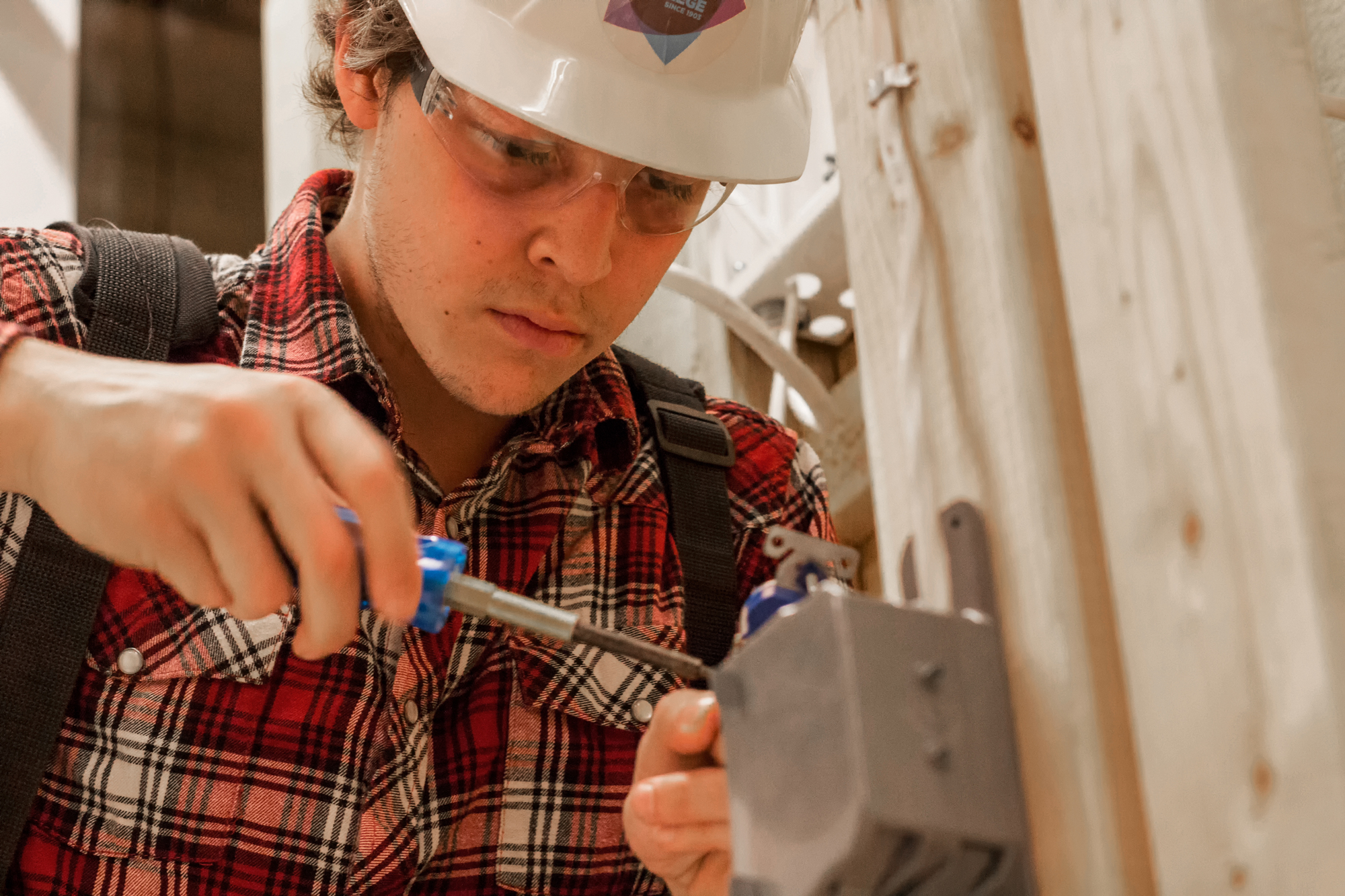 sprott shaw school of trades student working on project