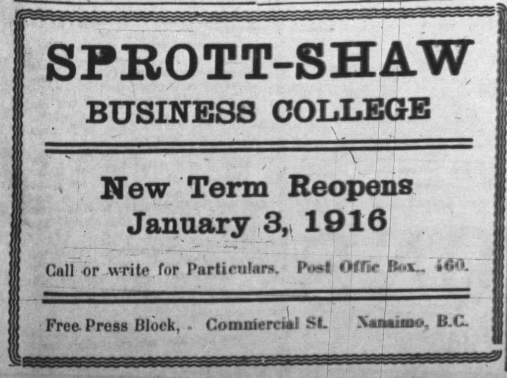 black and white newspaper ad for Sprott Shaw College Nanaimo campus