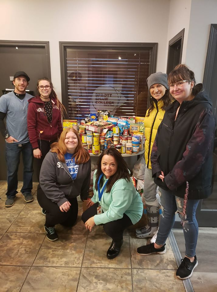 sprott shaw college students and staff for stuff-a-bus food drive