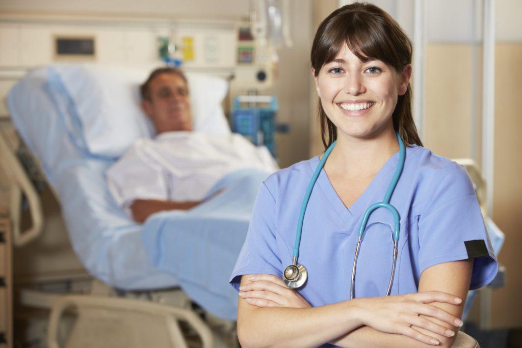 nurse in a uniform with a patient