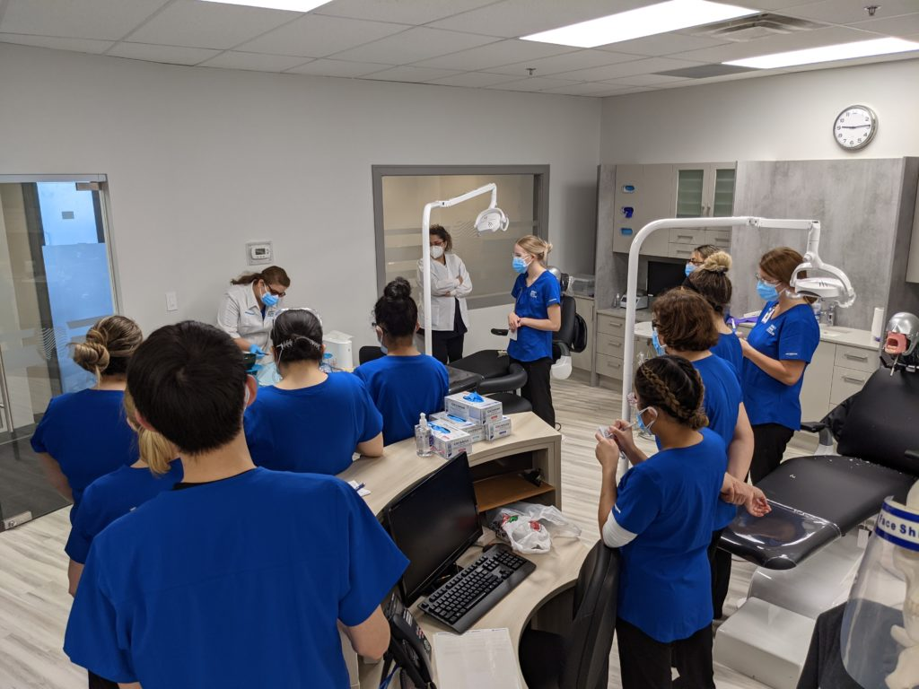 dental assistant students working in dental lab sprott shaw college